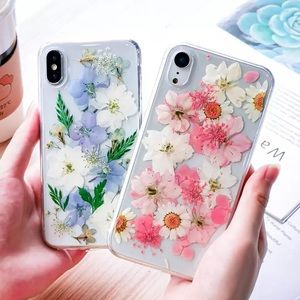 Pressed flower iPhone case boho pink floral chic